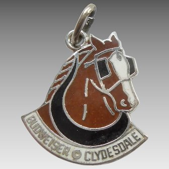 Budweiser Clydesdale Horse Sterling Silver and Enamel Charm
