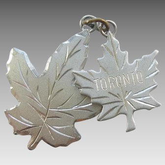 Two Sterling Silver Maple Leaves Charms - Toronto Canada