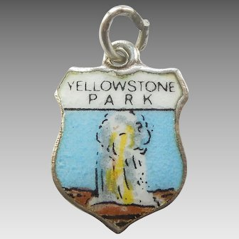 Yellowstone National Park Old Faithful Wyoming Sterling Silver Enamel Travel Shield Charm