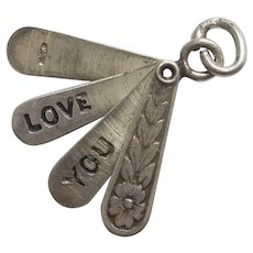 1940's Sterling Silver Opening Hand Fan Charm - 'I Love You' Mechanical