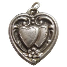 Sterling Silver Repousse Puffy Heart Charm - Overlapping Hearts with Forget-Me-Not Flower
