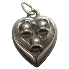 Sterling Silver Puffy Heart Charm - May Flower of the Month - Lily of the Valley