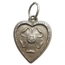 Engraved 'Gin' - Primrose or Tudor Rose Sterling Silver Puffy Heart Charm