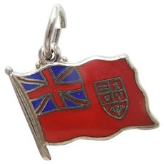 Red Ensign Canadian Sterling Silver and Enamel Flag Charm - Canada History and Travel Souvenir