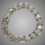 "Sterling Silver Forstner Fancy Link 'Heart' Decorated Starter Charm Bracelet with Safety Catch - 7 1/4"""