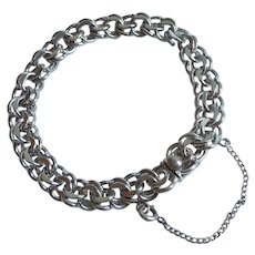 Sterling Silver Double Link Starter Charm Bracelet with Box Clasp and Safety Chain - 7 1/8''