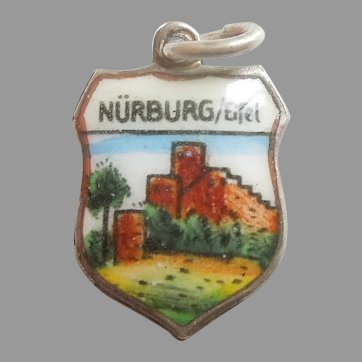 NURBURG / Eifel Germany Vintage Enamel and 800 Silver Souvenir Travel Shield Charm