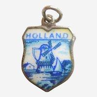 HOLLAND Netherlands Vintage Enamel and 835 Silver Souvenir Travel Shield Charm - Windmill, Delft Blue