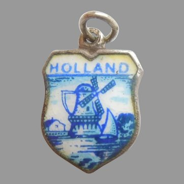 HOLLAND Netherlands Vintage Enamel and 835 Silver Souvenir Travel Shield Charm - Windmill, Delft Blue
