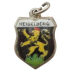 Heidelberg Germany Vintage Enamel and 835 Silver Souvenir Travel Shield Charm