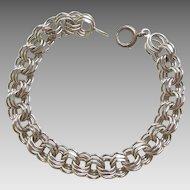 Sterling Silver Triple Link Starter Charm Bracelet - 7 3/4''