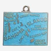 Bahama Islands Souvenir Map Charm - Sterling and Blue Enamel Charm - Wells
