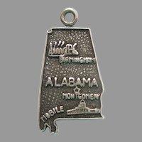 ALABAMA Sterling Silver State Map Charm Travel Souvenir