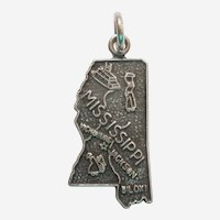 MISSISSIPPI Sterling Silver State Map Charm Travel Souvenir