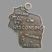 WISCONSIN Sterling Silver State Map Charm Travel Souvenir