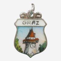 GRAZ Austria with Uhrturm / Clock Tower Enamel Souvenir Travel Shield Charm
