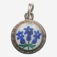 Gentian Flowers Blue & White Enamel and 900 Silver Flower Charm - Alpine Wildflowers