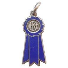 AKC Dog Show Winner's Sterling Silver and Enamel Ribbon Charm – Blue Ribbon 1st Place