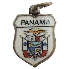 Panama Coat of Arms - Central America - Vintage Enamel and 800 Silver Souvenir Travel Shield Charm