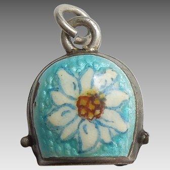 Vintage European Cow Bell Cowbell with Edelweiss Flower - Aqua Blue Guilloche Enamel Souvenir Travel Charm
