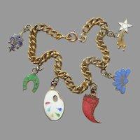 """Vintage Charm Bracelet (7 1/4"""") with Enameled Charms - Fleur de Lis, Artist Palette, Horseshoe, Cornucopia, Star, Flower"""