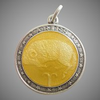 ARIES, the Ram, Sterling Silver and Yellow Enamel Zodiac Charm or Pendant - Charles Thomae