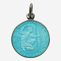 Sagittarius, the Archer, Sterling Silver and Enamel Zodiac Charm or Pendant - Charles Thomae