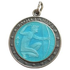SAGITTARIUS, the ARCHER, Sterling Silver and BLUE Enamel Zodiac Charm or Pendant - Charles Thomae