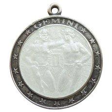 GEMINI, the TWINS, Sterling Silver and WHITE Enamel Zodiac Charm or Pendant - Charles Thomae