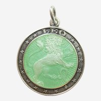 Leo the Lion Sterling Silver and Green Enamel Zodiac Charm or Pendant - Charles Thomae