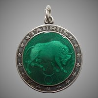 Taurus the Bull - Sterling Silver and Enamel Zodiac Charm or Pendant - Charles Thomae