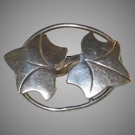 Signed Leonore Doskow Hand-wrought Sterling Silver Pin - Entwined Ivy Leaves
