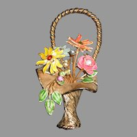 Enamel and Rhinestone Flower Basket Pin