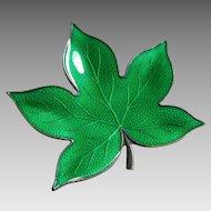 Finn Jensen Sterling Silver and Spring Green Guilloche Enamel Leaf Pin - Norway Scandinavian