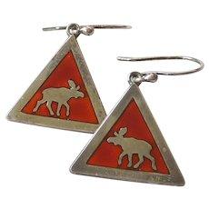 David Andersen D-A Sterling Silver and Enamel 'Moose Crossing' Earrings - Konrad Mehus - Norway