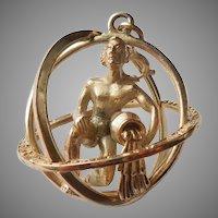 Aquarius Trifari 3D Zodiac Astrology Charm / Pendant / Orb
