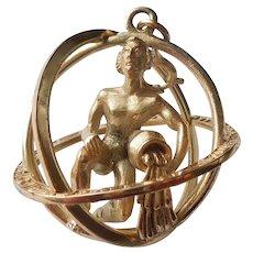 Aquarius Trifari 3D Zodiac Astrology Charm / Pendant / Orb / Sphere