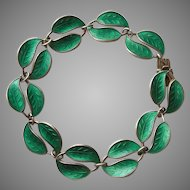 Sterling Silver and Green Enamel Double-leaf Bracelet - David Andersen D-A Norway