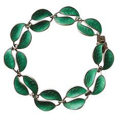Sterling Silver and Green Enamel Double-leaf Bracelet - David Andersen D-A Norway