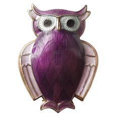 David Andersen Sterling Silver and Purple Guilloche Enamel Owl Pin - Norway