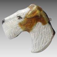 Kenart Terrier Dog Head Silver and Enamel Tie Tack or Lapel Pin