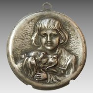 Vintage Sterling Silver Repousse Boy and Dog Pendant