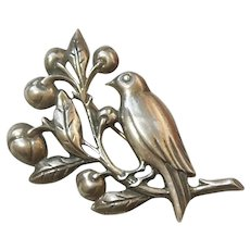Sterling Silver Bird and Fruit / Berry Pin - Felch and Company - Early Danecraft