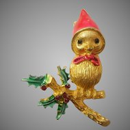 MYLU Christmas Pin with Sweet Red-capped Bird on a Holly Branch