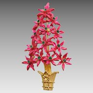 MYLU Poinsettia Christmas Tree Pin with Green Rhinestone Ornaments