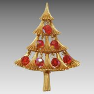MYLU Christmas Tree Pin with Red Aurora Borealis Dangle Beads