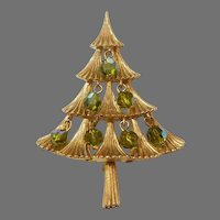 MYLU Christmas Tree Pin with Green Olivine Aurora Borealis Dangle Beads