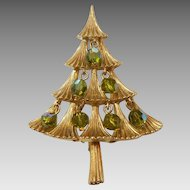 MYLU Christmas Tree Pin with Green Olivine Aurora Borealis Dangle Beads
