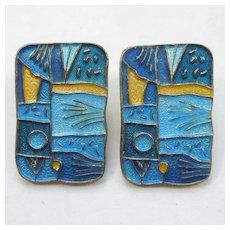 """David-Andersen """"Spring"""" Four Seasons Clip Earrings - Sterling Silver and Enamel"""