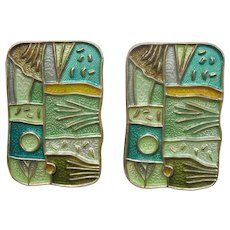 "David-Andersen ""Summer"" Four Seasons Clip Earrings - Sterling Silver and Enamel"